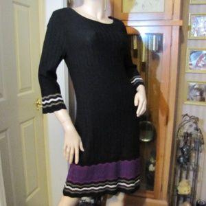 Nine West Black & Purple Sweater Dress XL